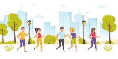 persone felici che prendono parte alla maratona, sprint vettore