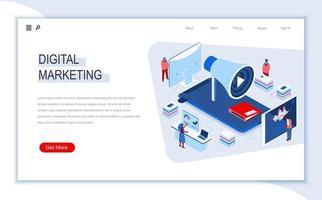 pagina di destinazione isometrica del marketing digitale