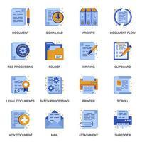 icone di documenti impostate in stile piano. vettore