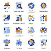 icone di gestione finanziaria impostate in stile piatto.