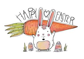 Simpatico coniglietto con grande carota e uova per il giorno di Pasqua