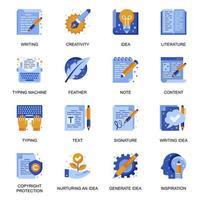 icone di copywriting impostate in stile piatto. vettore
