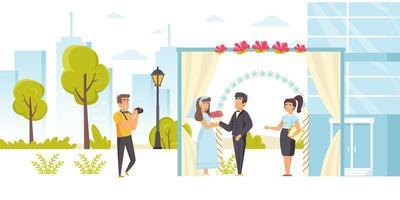 officiante di matrimonio sposando la sposa e lo sposo vettore