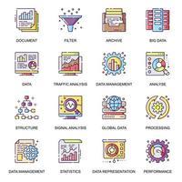 set di icone piane di analisi dei dati.