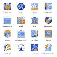 icone di sviluppo aziendale impostate in stile piano. vettore