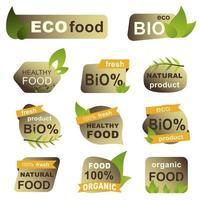 set di badge per alimenti biologici, eco, freschi vettore