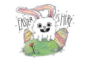 Vettore Simpatico coniglietto felice con uova colorate e fiori per il giorno di Pasqua
