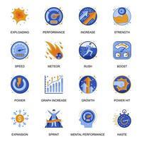 icone di prestazioni mentali impostate in stile piatto. vettore