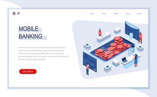 pagina di destinazione isometrica di mobile banking