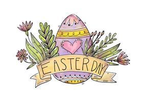 Uova viola sveglie con i fiori e nastro per il vettore di giorno di Pasqua