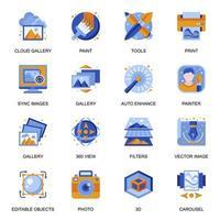 icone della galleria di immagini impostate in stile piatto. vettore