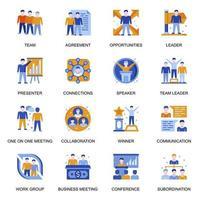 icone di persone di affari impostate in stile piano. vettore