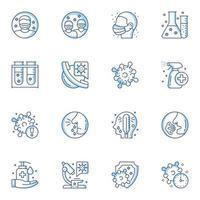 icone di linea sottile di diagnosi e trattamento di virologia vettore