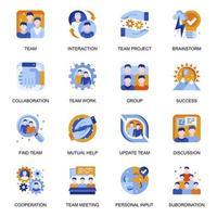 icone di lavoro di squadra impostate in stile piano. vettore