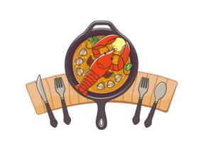 Delicious Vector Aragosta Pasto