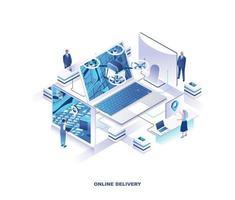disegno isometrico di consegna del drone di Internet