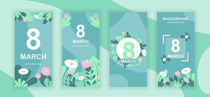 8 marzo storie sui social media vettore