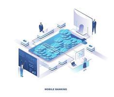 design isometrico di mobile banking
