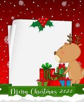 carta bianca con testo di buon natale 2020 e renne vettore