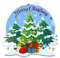 testo di buon natale con regali sotto l'albero di natale vettore
