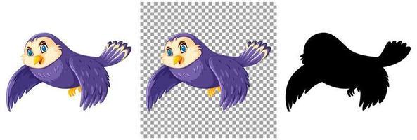 simpatico personaggio dei cartoni animati di uccello viola e silhouette