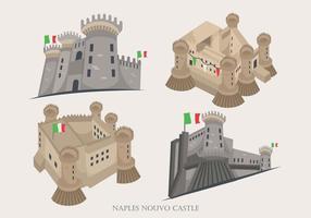 Illustrazione storica di vettore di costruzione del castello di Nouvo di Napoli