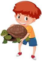 ragazzo che tiene simpatico cartone animato tartaruga vettore