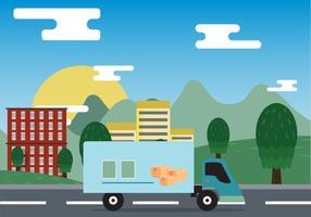 Spostamento di Van On City Vector