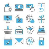 set di icone di marketing ed e-commerce vettore