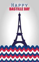 banner di celebrazione del giorno della bastiglia con elementi francesi vettore