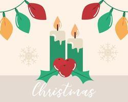buon natale, luci di candele e decorazioni di bacche di agrifoglio vettore