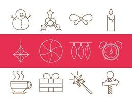 set di icone di decorazione e celebrazione di natale