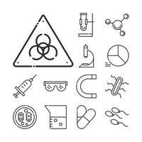 set di icone di biologia, chimica e scienza vettore