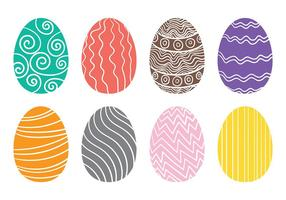 Vettore disegnato delle icone dell'uovo di Pasqua