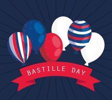 banner di celebrazione del giorno della bastiglia con elementi francesi