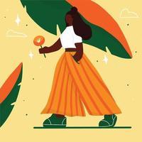 giovane donna che cammina con il fiore in stile piatto alla moda vettore