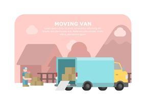 Illustrazione commovente blu del furgone