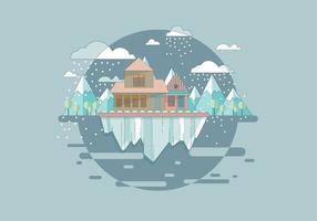 Vettore della montagna di tempesta di neve