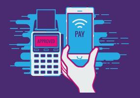 Telefono cellulare collegato al terminale POS wireless, elaborazione del punto di vendita mobile NFC vettore