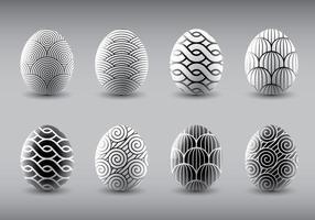 Vettori di uova di Pasqua in bianco e nero alla moda