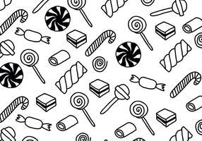 Modelli di caramelle in bianco e nero vettore
