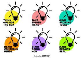 Insieme dell'icona della lampadina di vettore con le frasi motivazionali