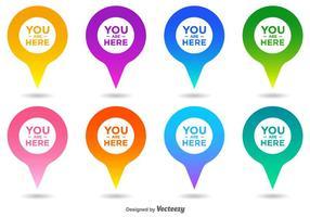 Vettore sei qui Set di icone puntatore della mappa