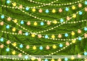 Luci dell'albero di Natale sul fondo di vettore degli aghi del pino