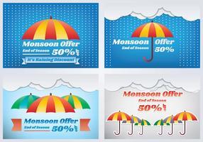 Banner di vendita stagione dei monsoni vettore