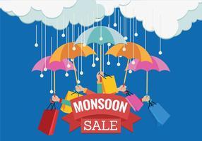 Banner di vendita vettoriale per la stagione dei monsoni con le mani e l'ombrello