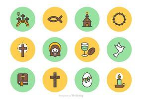 Buon venerdì e icone di linea di vettore di Pasqua