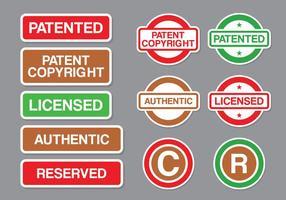 Pacchetto di vettore del timbro di copyright e brevetto