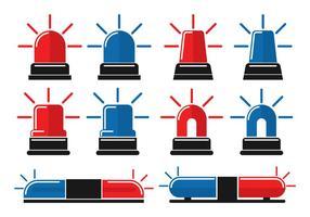 Pacchetto icona luci piatte della polizia vettore