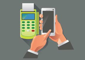Vettore di pagamento NFC grigio e verde
